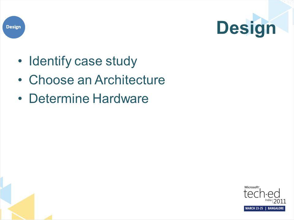 Design Identify case study Choose an Architecture Determine Hardware Design
