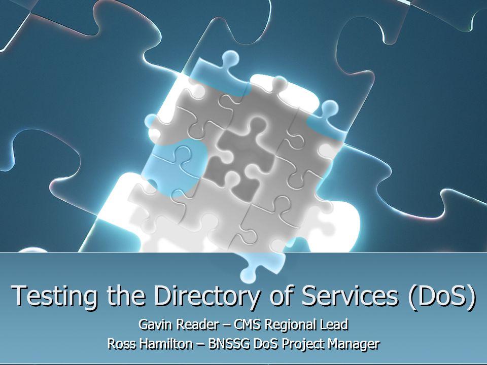 Testing the Directory of Services (DoS) Gavin Reader – CMS Regional Lead Ross Hamilton – BNSSG DoS Project Manager Gavin Reader – CMS Regional Lead Ro