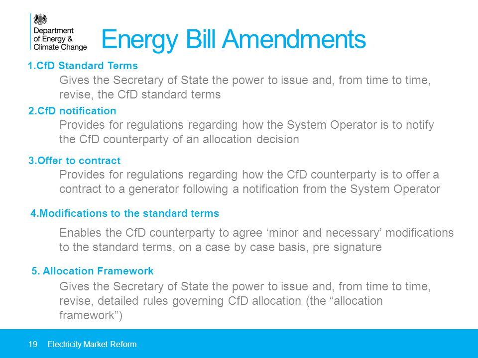 1.CfD Standard Terms Energy Bill Amendments Gives the Secretary of State the power to issue and, from time to time, revise, the CfD standard terms Provides for regulations regarding how the System Operator is to notify the CfD counterparty of an allocation decision Provides for regulations regarding how the CfD counterparty is to offer a contract to a generator following a notification from the System Operator Enables the CfD counterparty to agree minor and necessary modifications to the standard terms, on a case by case basis, pre signature Gives the Secretary of State the power to issue and, from time to time, revise, detailed rules governing CfD allocation (the allocation framework) 19Electricity Market Reform 2.CfD notification 3.Offer to contract 4.Modifications to the standard terms 5.