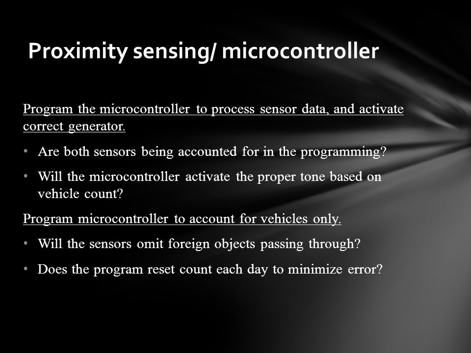 Program the microcontroller to process sensor data, and activate correct generator.