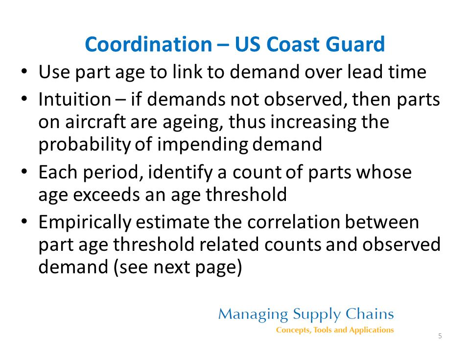Correlation between demand and part age signals for different age thresholds Age Threshold Correlation Optimal Age Threshold 6