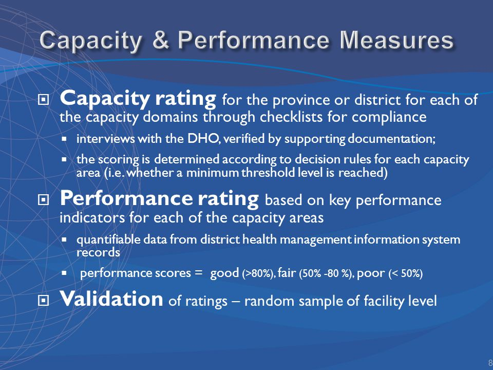Capacity rating for the province or district for each of the capacity domains through checklists for compliance interviews with the DHO, verified by supporting documentation; the scoring is determined according to decision rules for each capacity area (i.e.