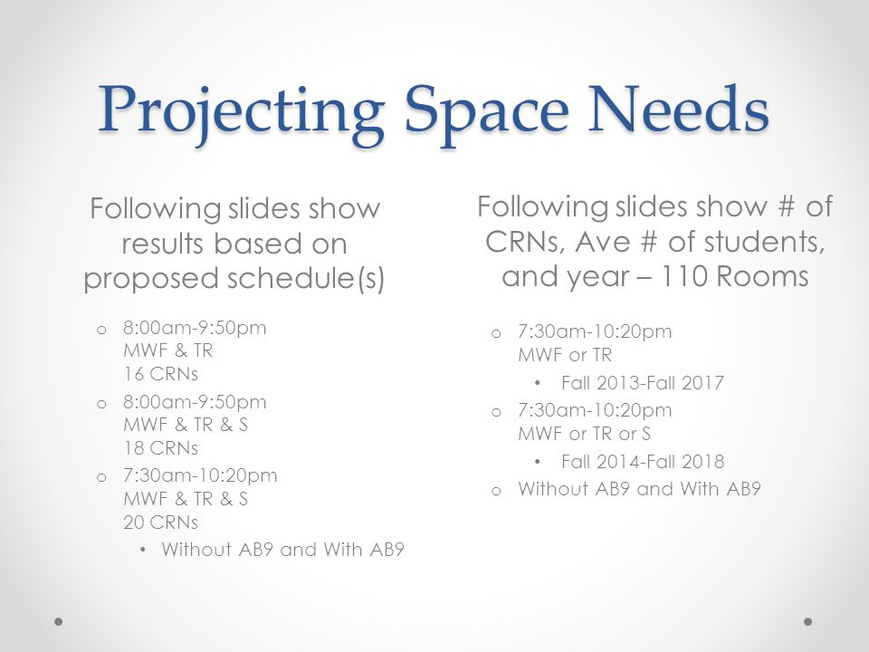 Projecting Space Needs Following slides show results based on proposed schedule(s) o 8:00am-9:50pm MWF & TR 16 CRNs o 8:00am-9:50pm MWF & TR & S 18 CRNs o 7:30am-10:20pm MWF & TR & S 20 CRNs Without AB9 and With AB9 o 7:30am-10:20pm MWF or TR Fall 2013-Fall 2017 o 7:30am-10:20pm MWF or TR or S Fall 2014-Fall 2018 o Without AB9 and With AB9 Following slides show # of CRNs, Ave # of students, and year – 110 Rooms