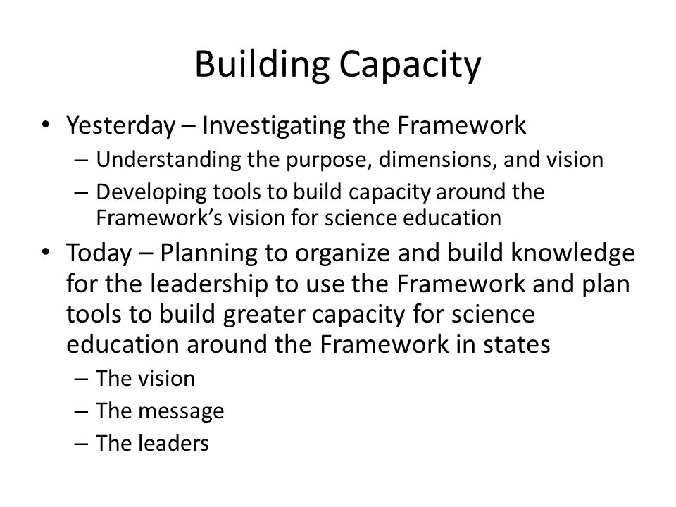 Building Capacity Yesterday – Investigating the Framework – Understanding the purpose, dimensions, and vision – Developing tools to build capacity aro