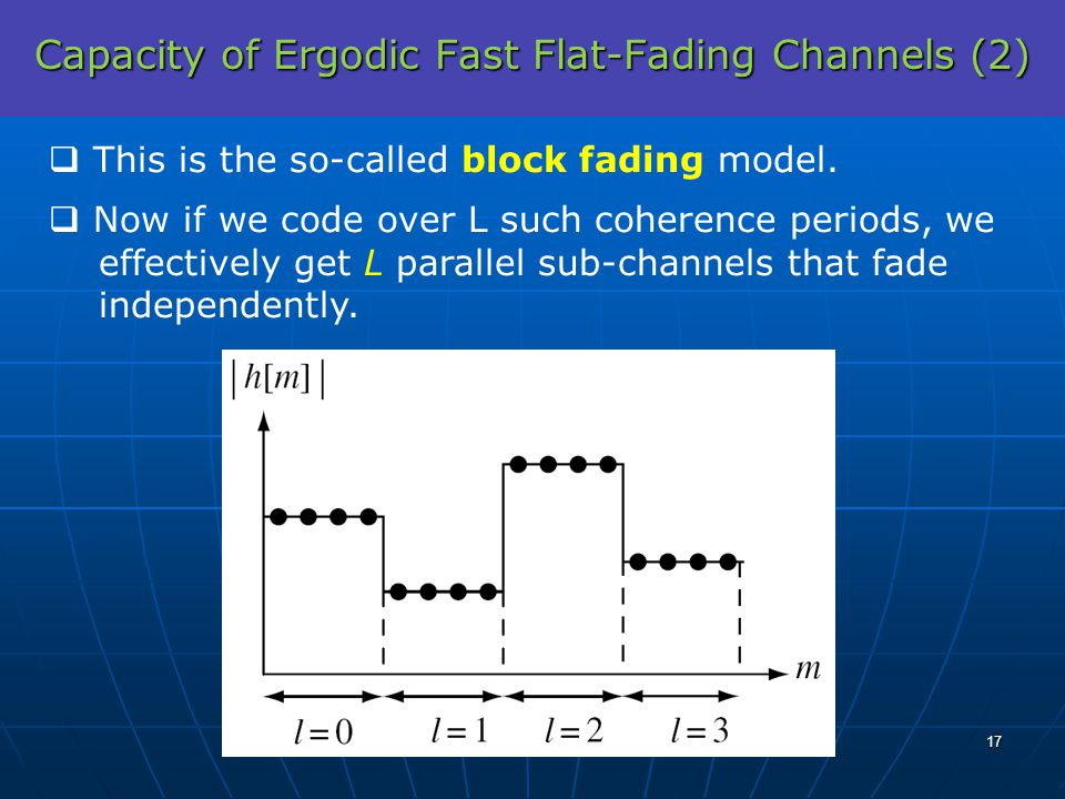 Capacity of Ergodic Fast Flat-Fading Channels (2) This is the so-called block fading model. Now if we code over L such coherence periods, we effective