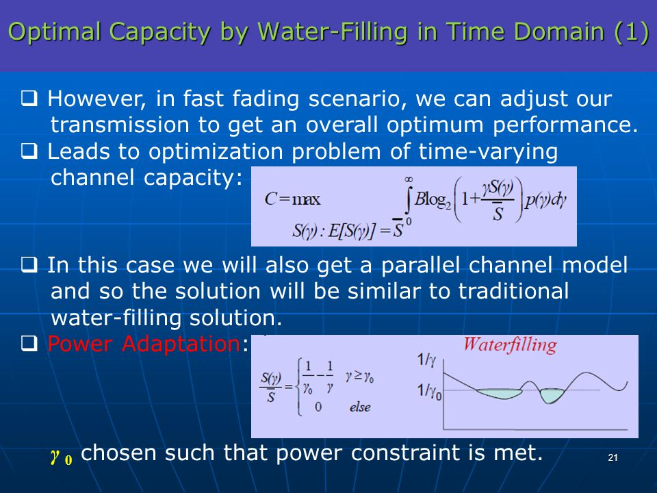 Optimal Capacity by Water-Filling in Time Domain (1) However, in fast fading scenario, we can adjust our transmission to get an overall optimum perfor