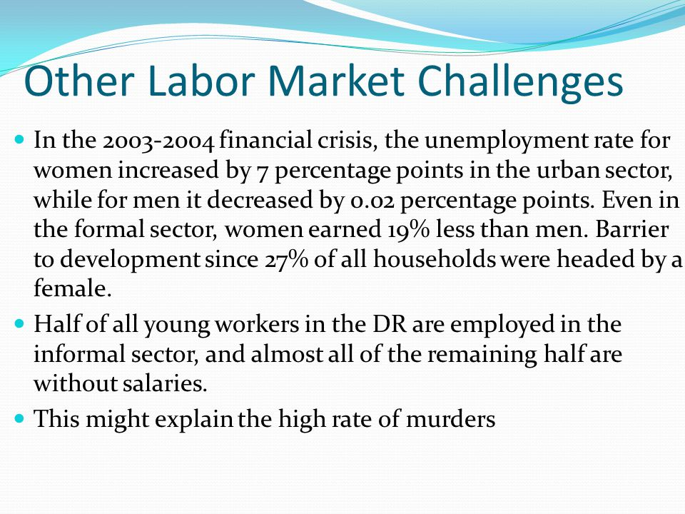 Other Labor Market Challenges In the 2003-2004 financial crisis, the unemployment rate for women increased by 7 percentage points in the urban sector,