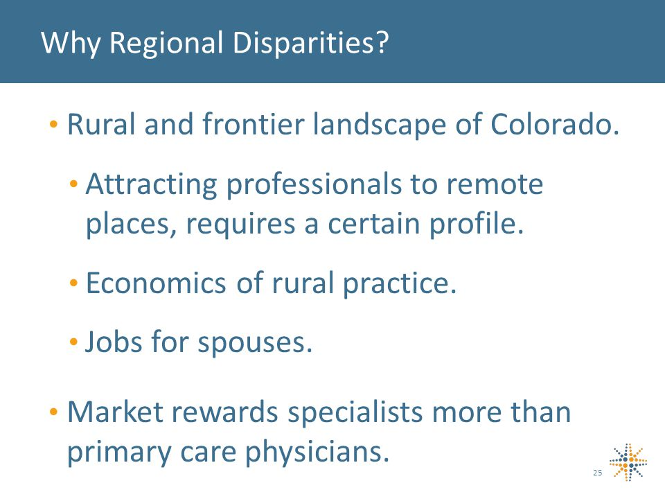 25 Why Regional Disparities. Rural and frontier landscape of Colorado.