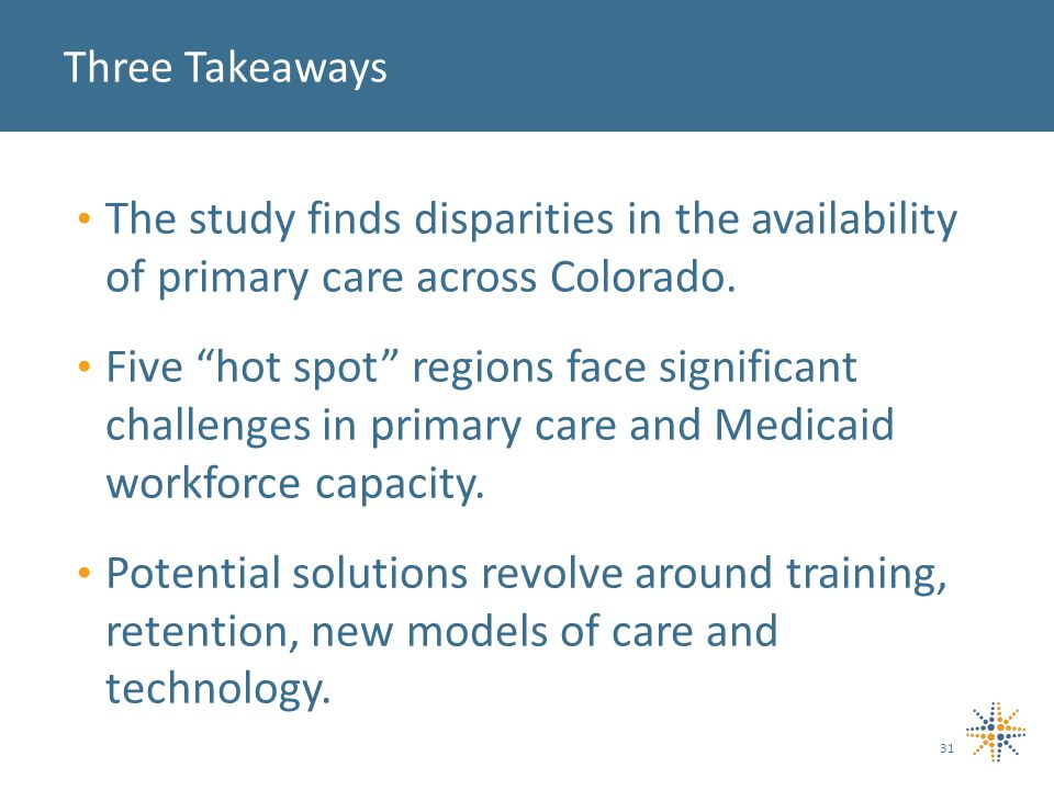 The study finds disparities in the availability of primary care across Colorado.