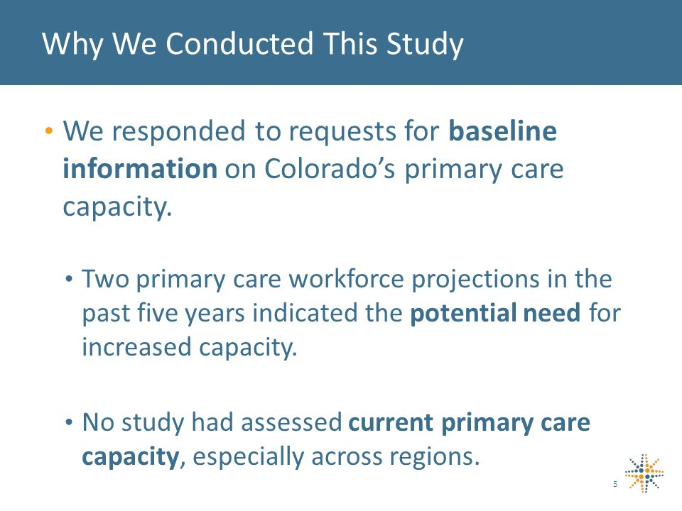 We responded to requests for baseline information on Colorados primary care capacity.