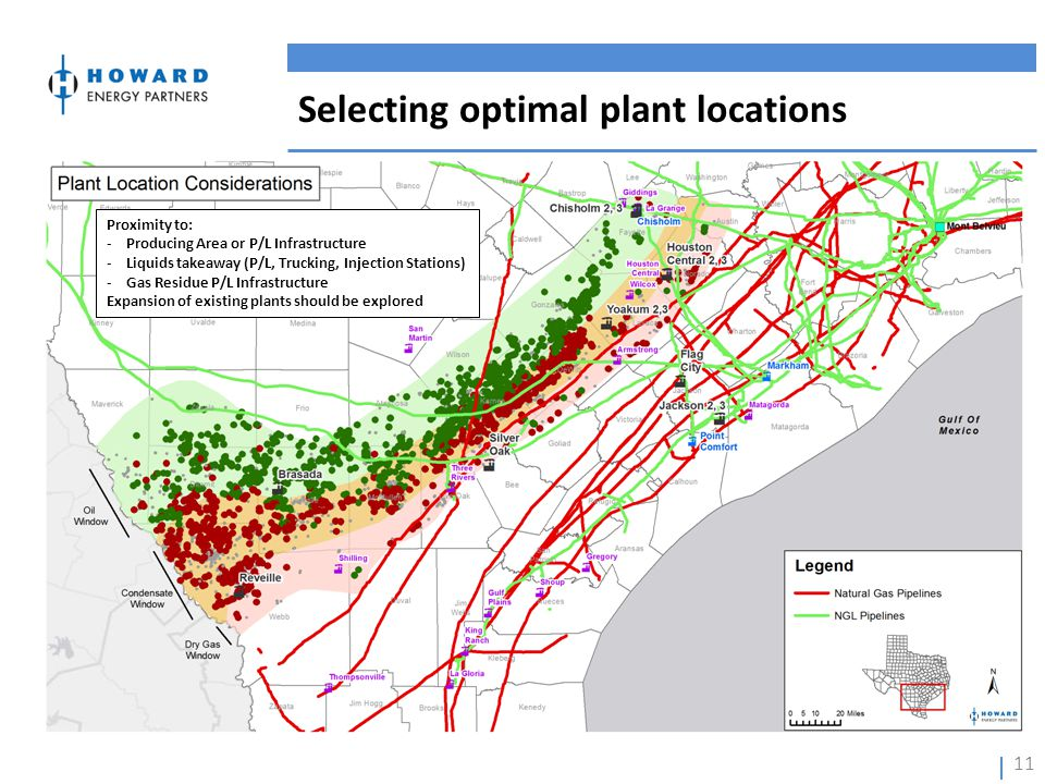 Selecting optimal plant locations 11 Proximity to: -Producing Area or P/L Infrastructure -Liquids takeaway (P/L, Trucking, Injection Stations) -Gas Re