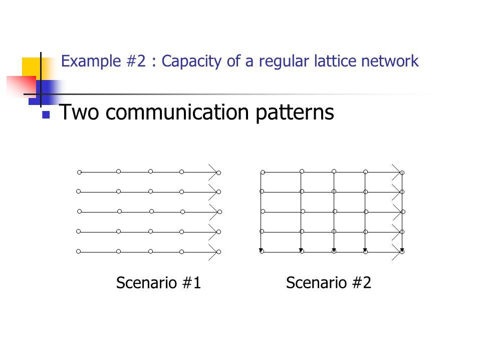 Two communication patterns Example #2 : Capacity of a regular lattice network Scenario #1 Scenario #2