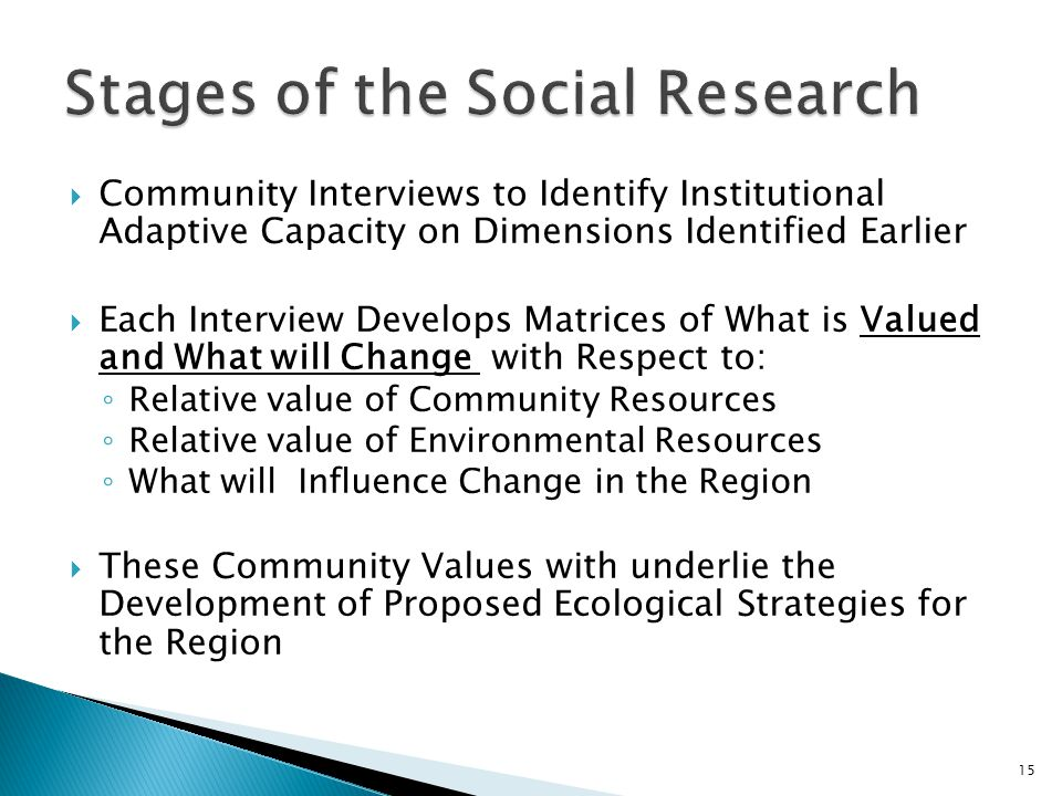 Community Interviews to Identify Institutional Adaptive Capacity on Dimensions Identified Earlier Each Interview Develops Matrices of What is Valued and What will Change with Respect to: Relative value of Community Resources Relative value of Environmental Resources What will Influence Change in the Region These Community Values with underlie the Development of Proposed Ecological Strategies for the Region 15