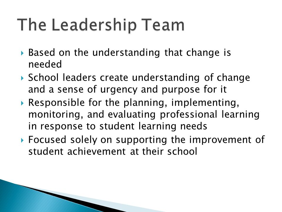 Based on the understanding that change is needed School leaders create understanding of change and a sense of urgency and purpose for it Responsible for the planning, implementing, monitoring, and evaluating professional learning in response to student learning needs Focused solely on supporting the improvement of student achievement at their school
