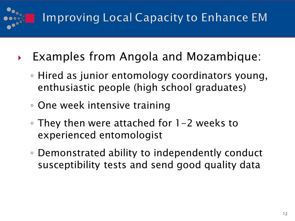 Examples from Angola and Mozambique: Hired as junior entomology coordinators young, enthusiastic people (high school graduates) One week intensive training They then were attached for 1-2 weeks to experienced entomologist Demonstrated ability to independently conduct susceptibility tests and send good quality data 12