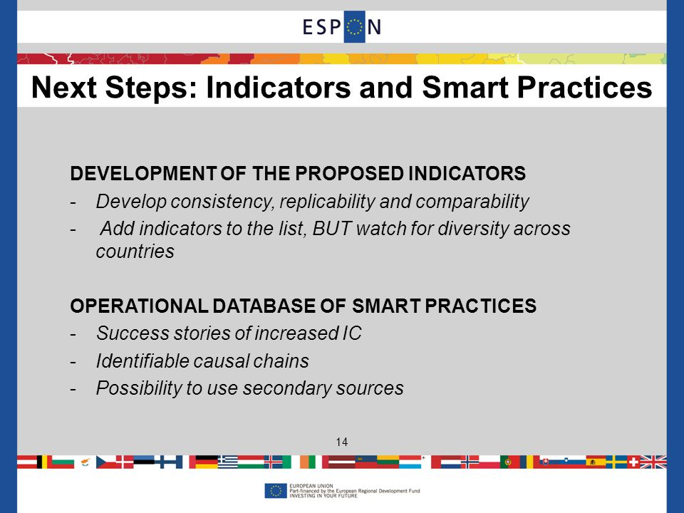 DEVELOPMENT OF THE PROPOSED INDICATORS -Develop consistency, replicability and comparability - Add indicators to the list, BUT watch for diversity across countries OPERATIONAL DATABASE OF SMART PRACTICES -Success stories of increased IC -Identifiable causal chains -Possibility to use secondary sources Next Steps: Indicators and Smart Practices 14