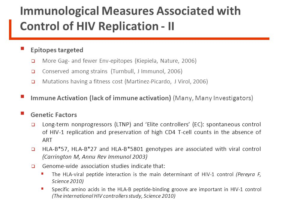 Immunological Measures Associated with Control of HIV Replication - II Epitopes targeted More Gag- and fewer Env-epitopes (Kiepiela, Nature, 2006) Con