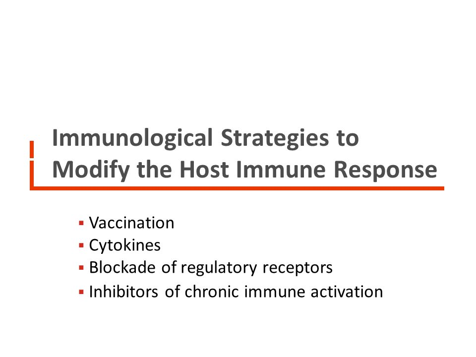 Immunological Strategies to Modify the Host Immune Response: Vaccines Therapeutic vaccine clinical trials performed in the last 15 years: Number of clinical trials: n = 29 Number of subjects enrolled: n = 4376 (3000 in one trial) Type of vaccine: recombinant proteins/peptides (used alone): 5 trials (n=460 subjects) altered/killed HIV: 1 trial (n = 3000 subjects) DNA-based vaccines: 5 trials (n = 121 subjects) Viral vector-based vaccines (used alone): 14 trials (ALVAC canarypox vector used in 8 trials, MVA poxvirus vector in 1 trial, NYVAC poxvirus vector in 1 trial, Fowlpox vector in 1 trial, Ad5 vector in 1 trial) ( n = 698 subjects) Dendritic cell-based vaccines: 4 trials (n = 97 subjects)