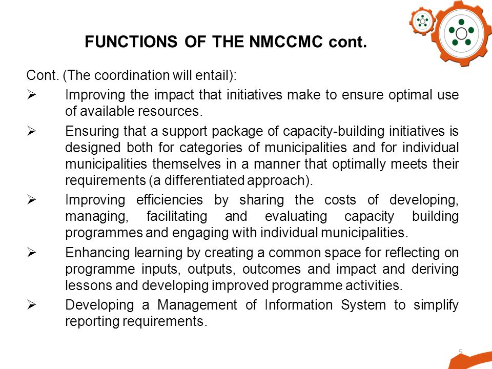 5 FUNCTIONS OF THE NMCCMC cont. Cont.