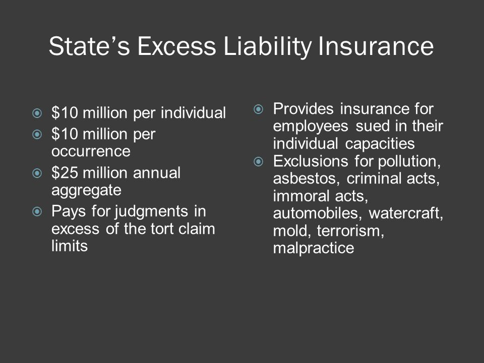 States Excess Liability Insurance $10 million per individual $10 million per occurrence $25 million annual aggregate Pays for judgments in excess of the tort claim limits Provides insurance for employees sued in their individual capacities Exclusions for pollution, asbestos, criminal acts, immoral acts, automobiles, watercraft, mold, terrorism, malpractice