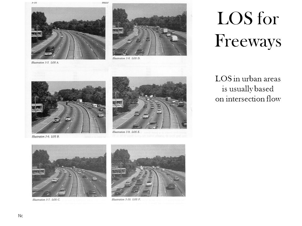 LOS for Freeways LOS in urban areas is usually based on intersection flow Norman W. Garrick