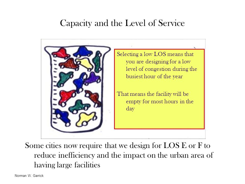 Capacity and the Level of Service Some cities now require that we design for LOS E or F to reduce inefficiency and the impact on the urban area of hav
