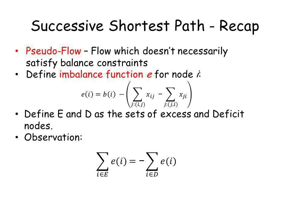 Successive Shortest Path - Recap