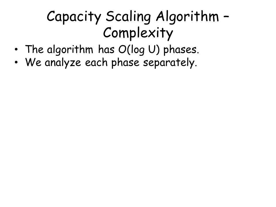 Capacity Scaling Algorithm – Complexity The algorithm has O(log U) phases.
