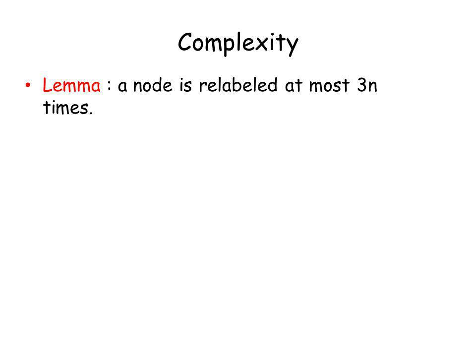 Complexity Lemma : a node is relabeled at most 3n times.