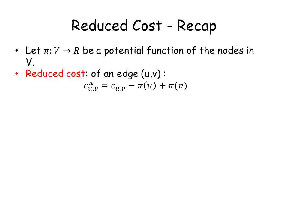 Reduced Cost - Recap
