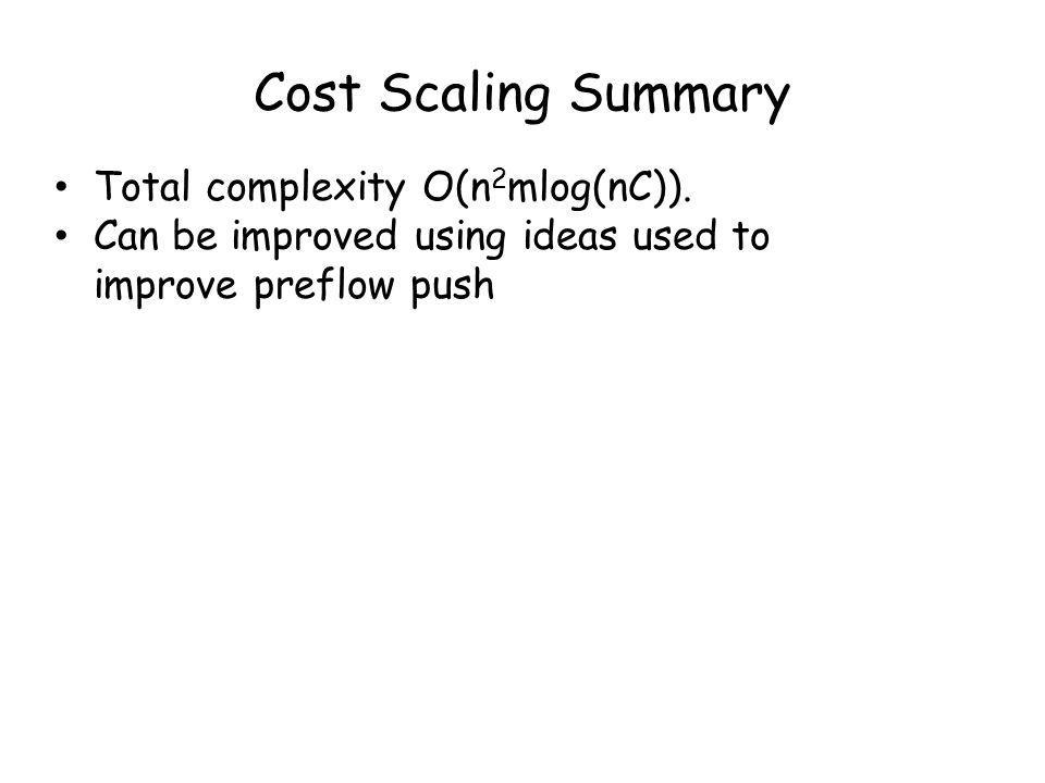 Cost Scaling Summary Total complexity O(n 2 mlog(nC)).