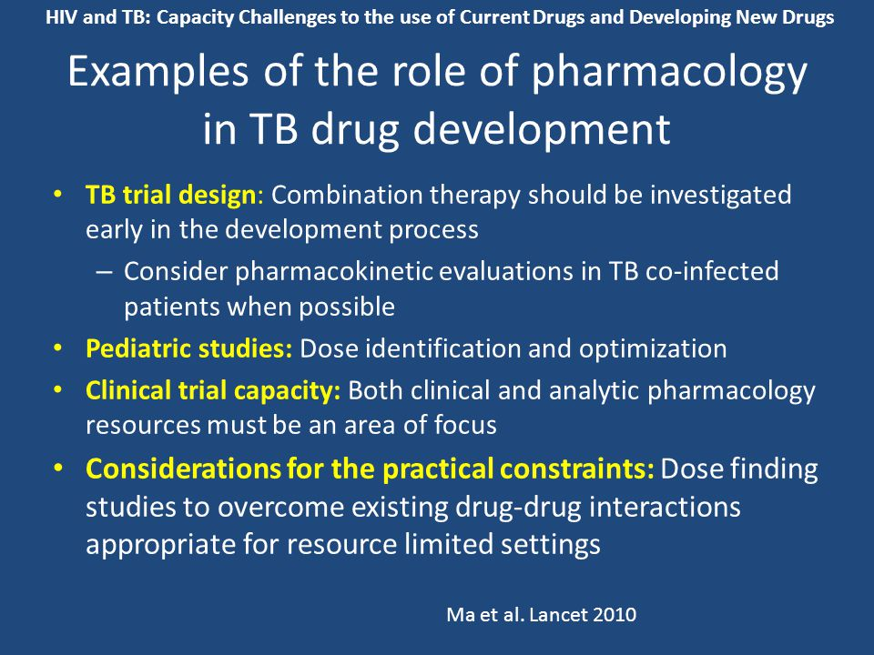 Examples of the role of pharmacology in TB drug development TB trial design: Combination therapy should be investigated early in the development proce