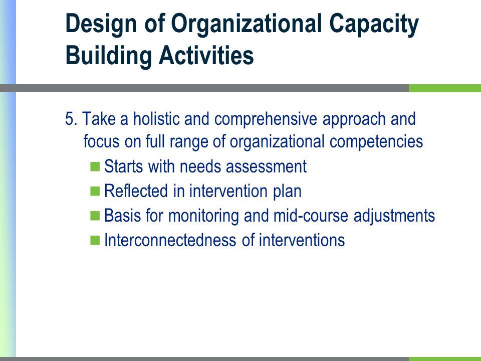 Design of Organizational Capacity Building Activities 5.