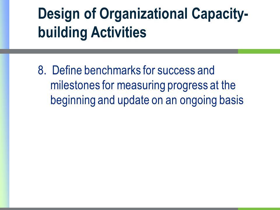 Design of Organizational Capacity- building Activities 8.