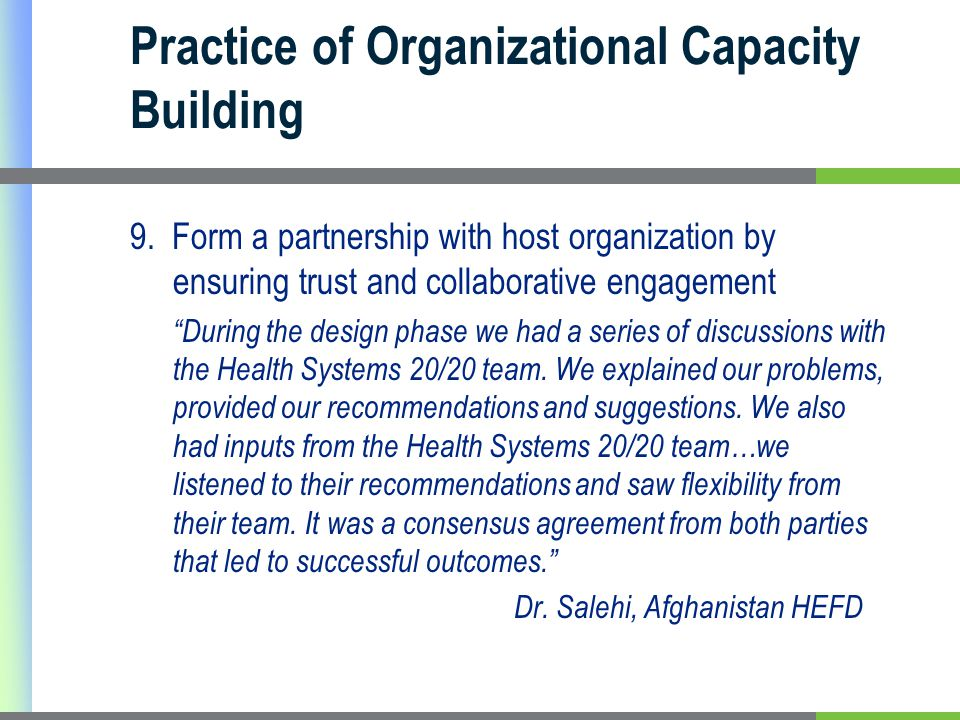 Practice of Organizational Capacity Building 9.