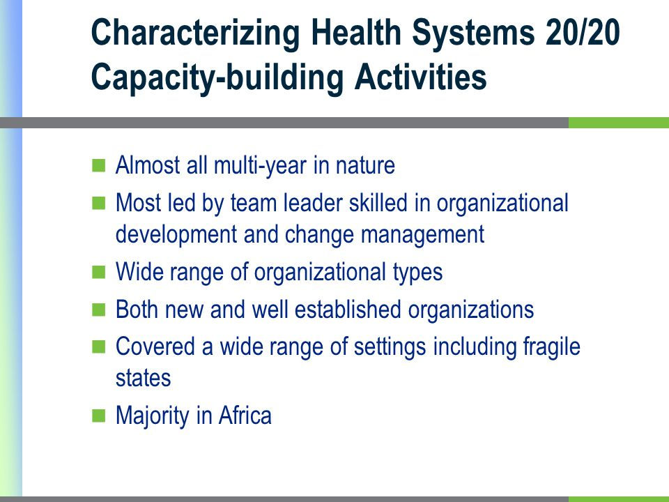 Characterizing Health Systems 20/20 Capacity-building Activities Almost all multi-year in nature Most led by team leader skilled in organizational development and change management Wide range of organizational types Both new and well established organizations Covered a wide range of settings including fragile states Majority in Africa