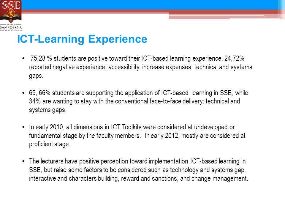 ICT-Learning Experience 75,28 % students are positive toward their ICT-based learning experience.
