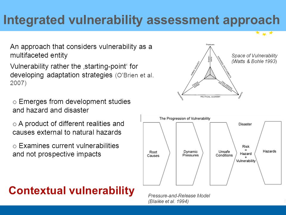 An approach that considers vulnerability as a multifaceted entity Vulnerability rather the starting-point for developing adaptation strategies (O ' Brien et al.