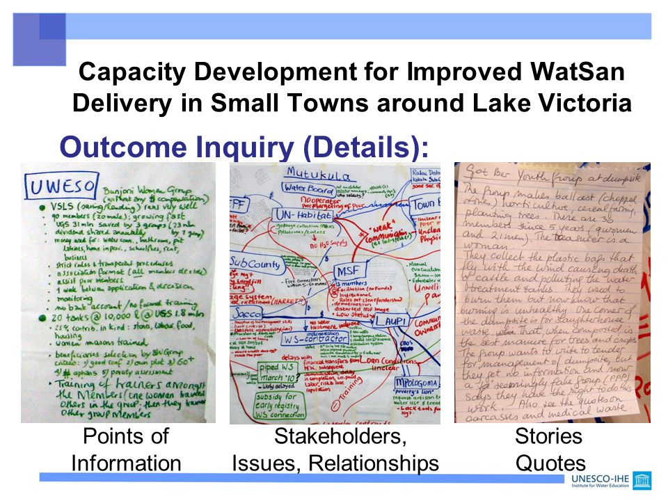 Outcome Inquiry (Details): Points of Stakeholders, Stories Information Issues, Relationships Quotes Capacity Development for Improved WatSan Delivery in Small Towns around Lake Victoria