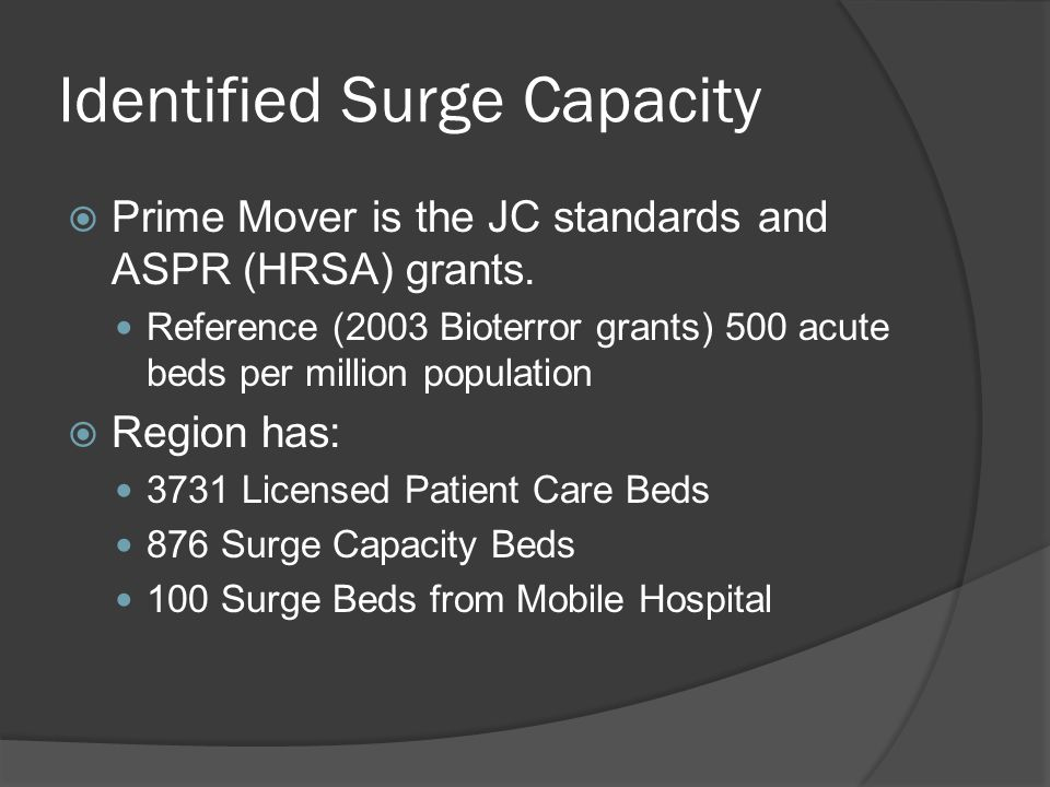 Identified Surge Capacity Prime Mover is the JC standards and ASPR (HRSA) grants.