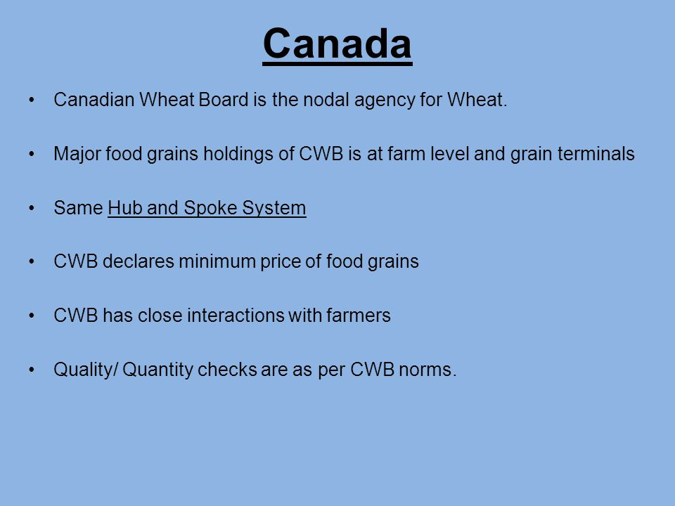 Canadian Wheat Board is the nodal agency for Wheat.