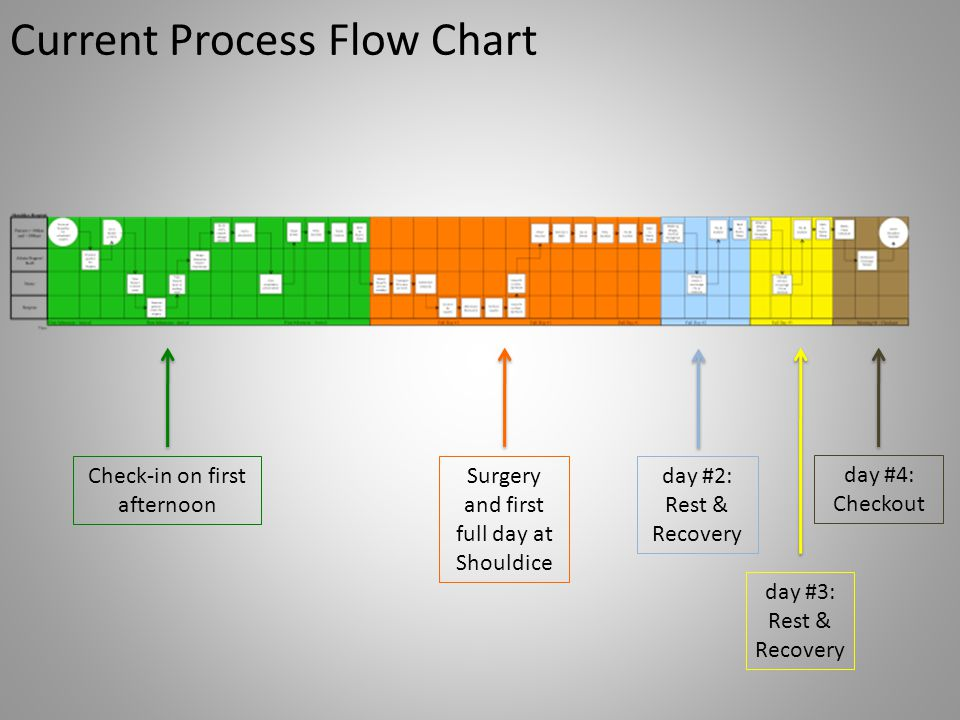 Current Process Flow Chart Check-in on first afternoon Surgery and first full day at Shouldice day #2: Rest & Recovery day #3: Rest & Recovery day #4: