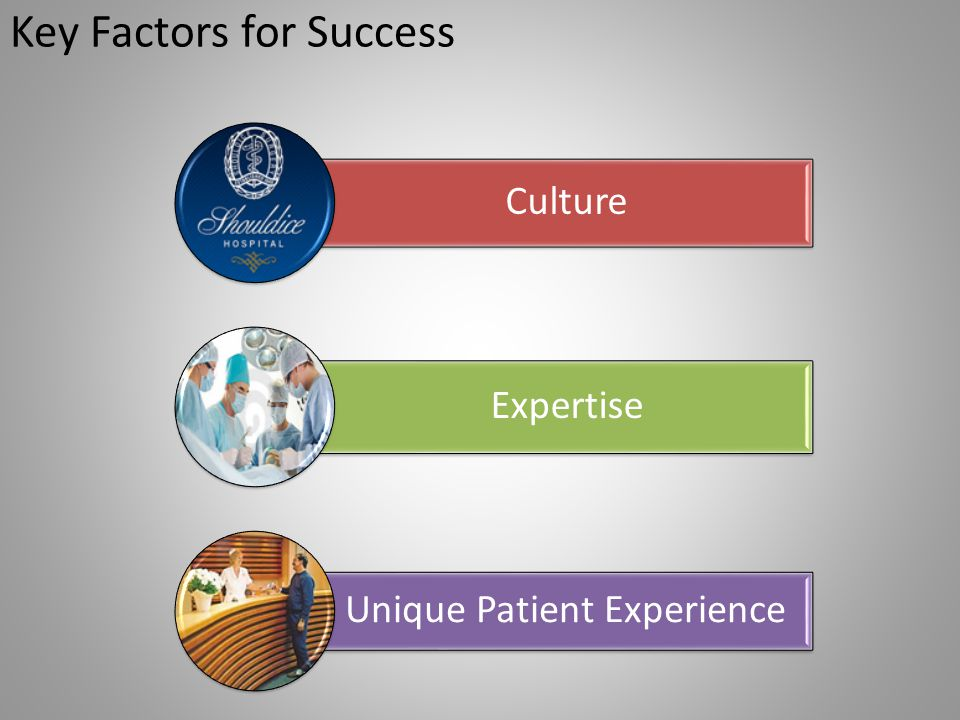 Key Factors for Success Culture Expertise Unique Patient Experience
