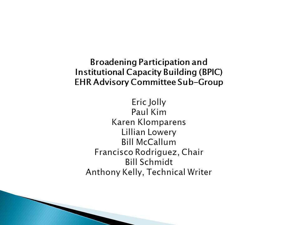 Broadening Participation and Institutional Capacity Building (BPIC) EHR Advisory Committee Sub-Group Eric Jolly Paul Kim Karen Klomparens Lillian Lowery Bill McCallum Francisco Rodriguez, Chair Bill Schmidt Anthony Kelly, Technical Writer
