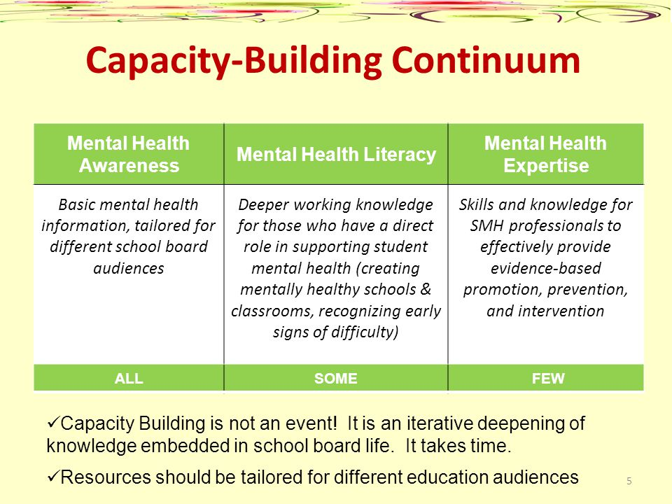 Capacity-Building Continuum Mental Health Awareness Mental Health Literacy Mental Health Expertise Basic mental health information, tailored for diffe