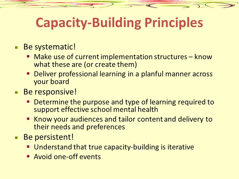 Capacity-Building Principles Be systematic! Make use of current implementation structures – know what these are (or create them) Deliver professional