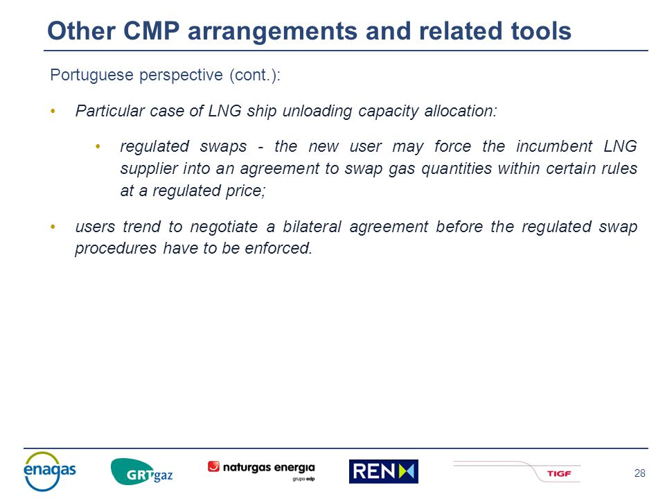 28 Portuguese perspective (cont.): Particular case of LNG ship unloading capacity allocation: regulated swaps - the new user may force the incumbent L