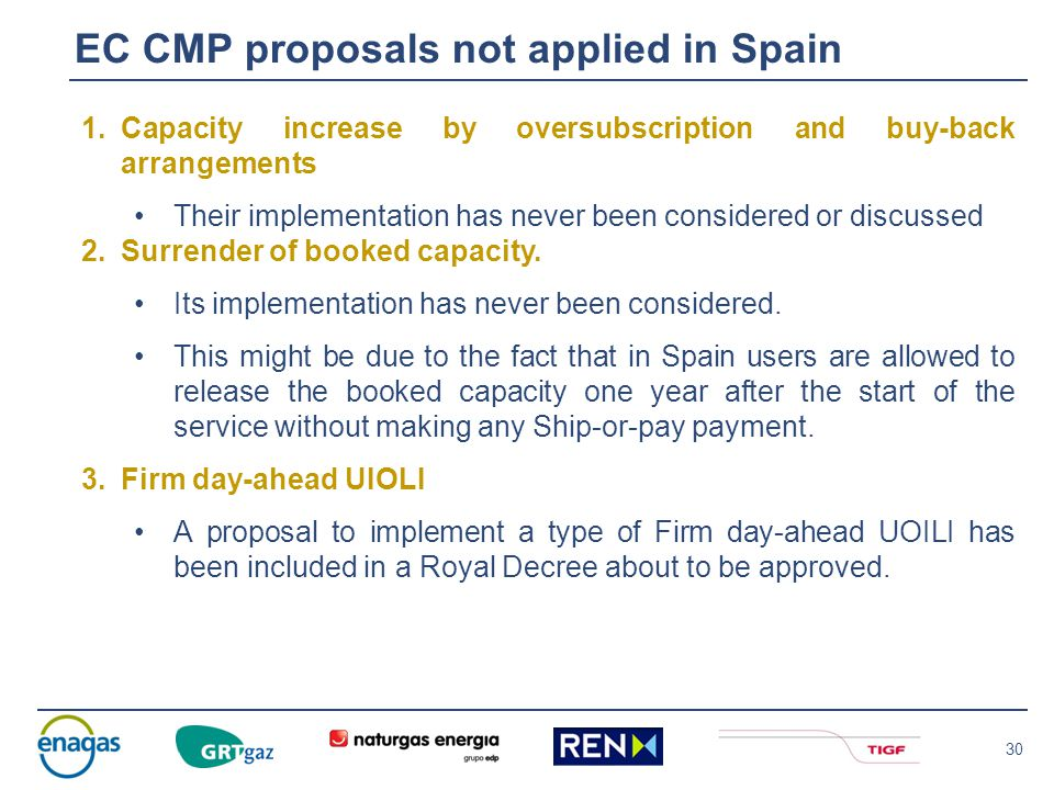 30 EC CMP proposals not applied in Spain 1.Capacity increase by oversubscription and buy-back arrangements Their implementation has never been conside