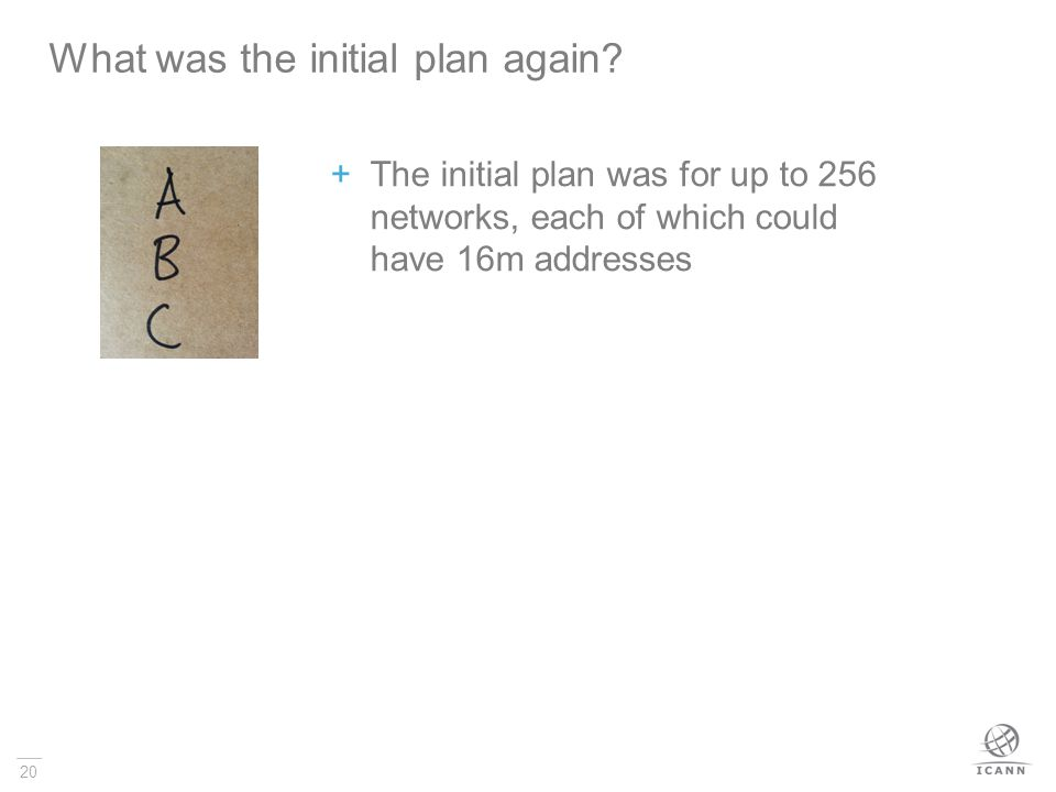 20 The initial plan was for up to 256 networks, each of which could have 16m addresses What was the initial plan again?