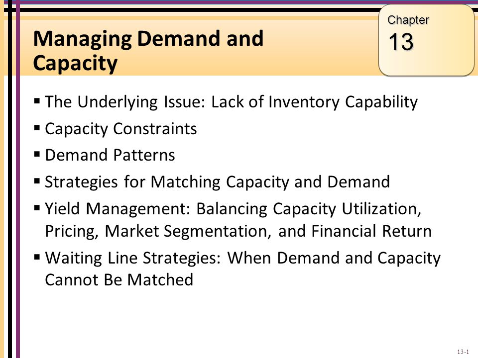 Objectives for Chapter 13: Managing Demand and Capacity Explain the underlying issue for capacity-constrained services: lack of inventory capability.